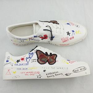 ZARA Butterfly Graffiti Lace Up  White Sneaker Sz8